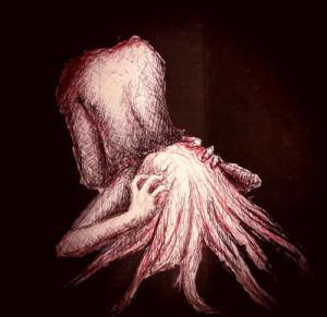 Black- depression by Tabitha Rayne - person holding head