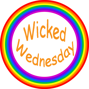 Wicked Wednesday badge with orange words and rainbow circle