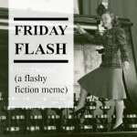 friday flash badge a lady stands on an old typewriter - for Spray by Tabitha Rayne