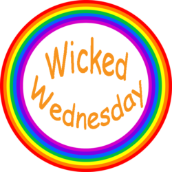 a round rainbow logo contains words Wicked Wednesday in orange. For Enema Addict post