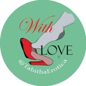 Tabitha Tayne home page logo - stockings and heels with words, With Love