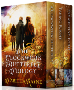 boxed set cover art for A Clockwork Butterfly trilogy by Tabitha Rayne