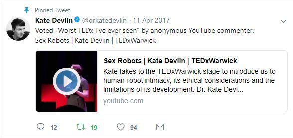 tweet that says 'worst Tedx Talk I've ever seen'