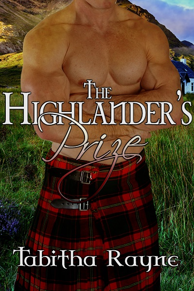 A burly naked male torso crosses his arms looking like he's about to administer a damn good punishment to someone who loves spanking! he has a red and black kilt with Scottish mountains in the background.