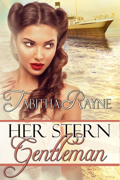 Her Stern Gentleman cover - a ship in the background with a 1950s style woman who loves spanking touching her own shoulder and gazing off seductively. by Tabitha Rayne - erotic romance