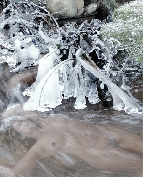 Icy fingers Sinful Sunday by Tabitha Rayne - a woman floats beneath a frosty river with icy tendril reaching out