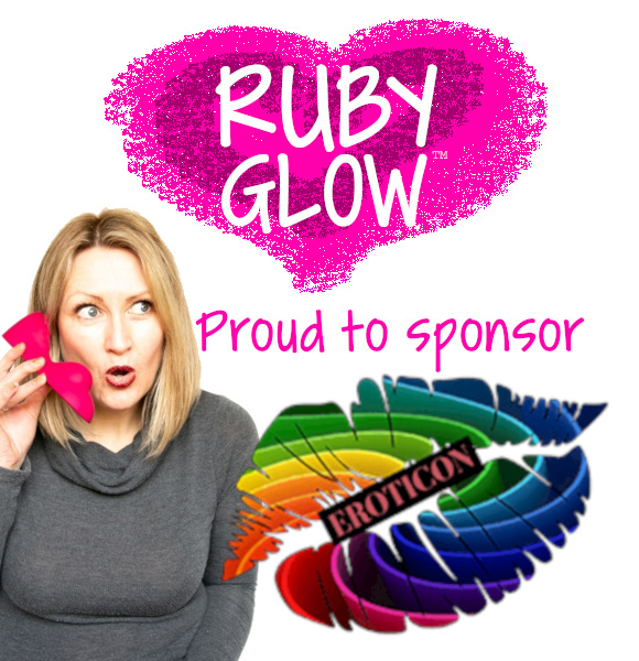 Tabitha Rayne and Ruby Glow for Eroticon sponsor with pink heart logo and eroticon rainbow lips