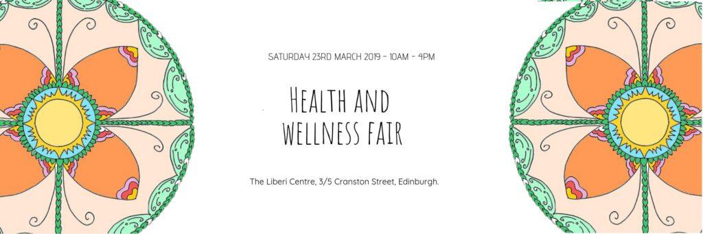 logo with orange mandala - Health and wellness fair Saturday 23rd march 10am - 4pm at the liberi centre 3/5 Cranston Street Edinburgh