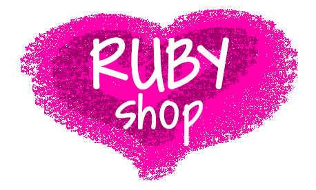 Ruby Glow logo - tow tone pink love heart with Ruby Shop in white writing