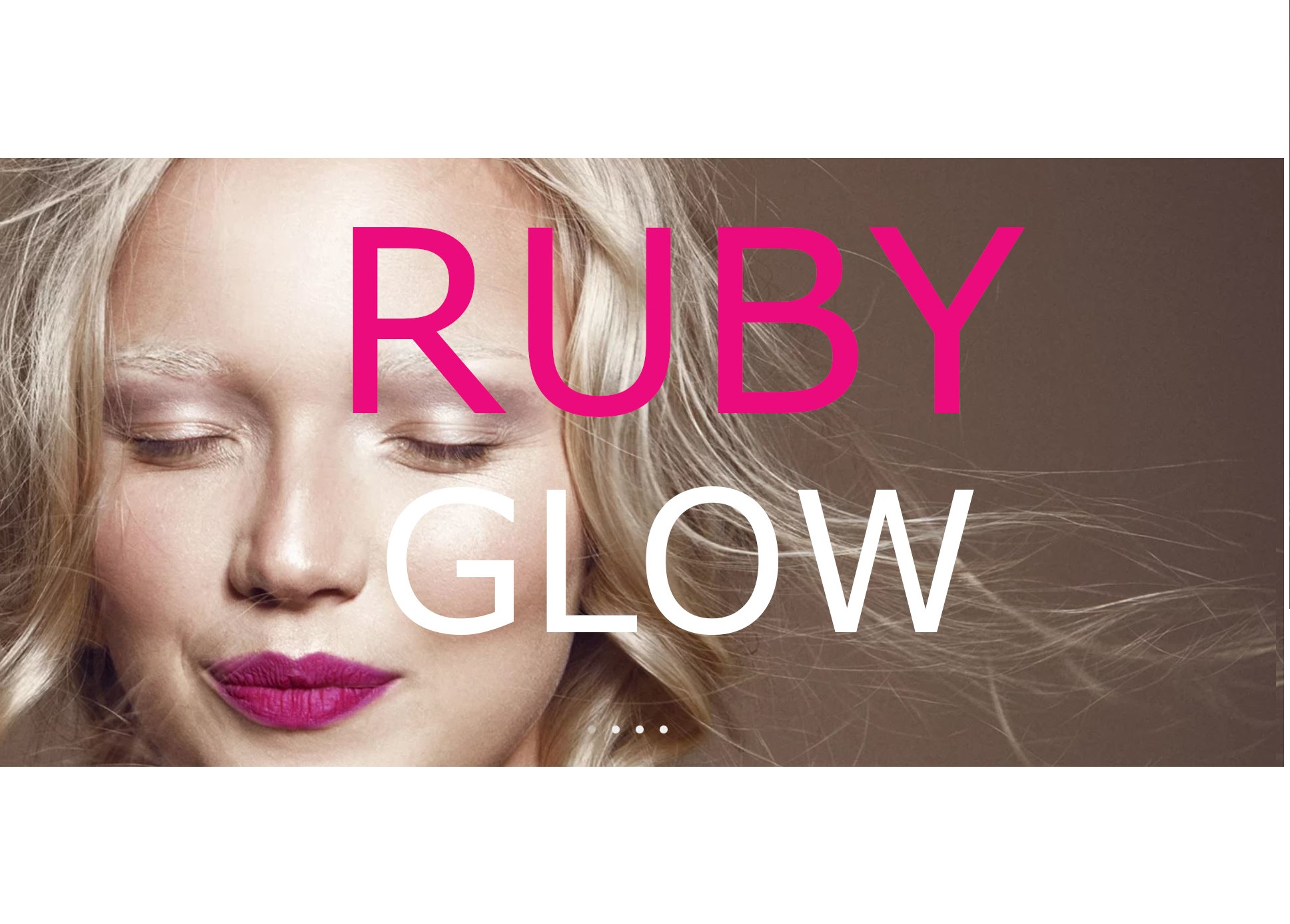 lady smiling with eyes closed and bright plum lips with Ruby Glow written over the front iin bold text.