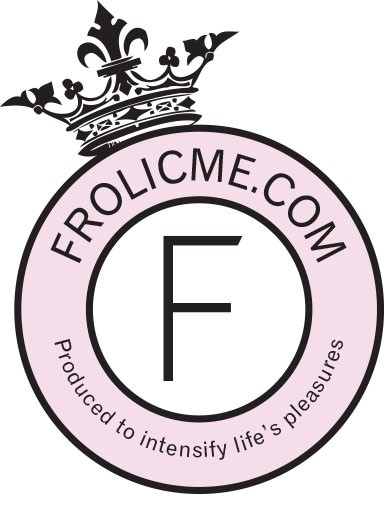 frolicme logo - a pink circle with frolicme.com inside and a black crown on top