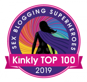 Kinkly sex blogging superheroes Kinkly Top 100 - text around an image of a circluar rainbow with hero in silhouette with purple cape like a superhero