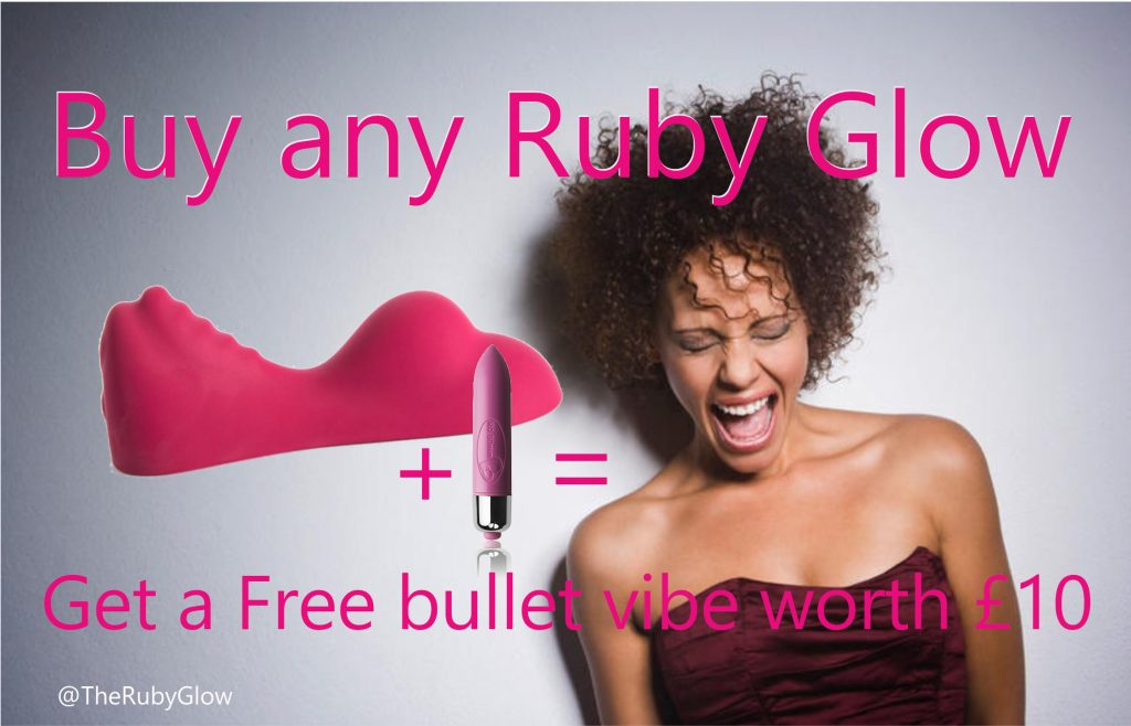 A very happy orgasmic woman smiles - there's a pink Ruby Glow plus a bullet vibe and equals, happy face lady. the text says, Buy any Ruby Glow , get a free bullet vibe worth £10 - part of what are you sorry for blog post on Tabitha