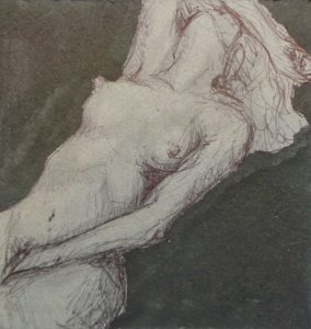 a woman ies back in post orgasmic bliss one arm covering her face erotic nude - black ink on grey board