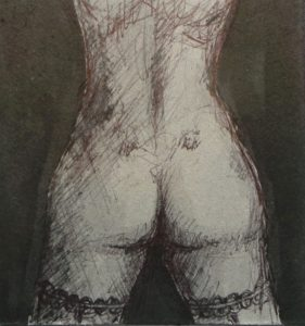 lovely view of a bare bottom with dimples and the stocking tops are visible on the thighs erotic nude - black ink on grey board