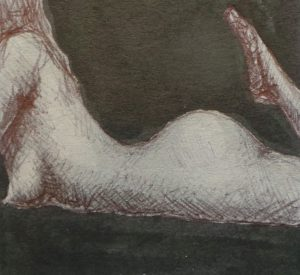 erotic nudea woman lies tummy down folding her legs up to her bottom leaning up on her elbows playfully - black ink on grey board