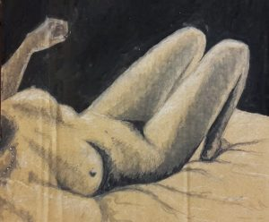 a female torso lies, legs up - relaxed with one hand in air wearing pearls - erotic nude - black ink on brown board