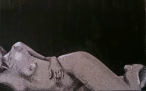 woman lying on side with arm draped over tummy erotic nude - black ink on grey board