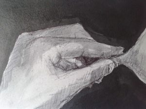 a nipple being pulled by pinced fingertips erotic nude - black ink on grey board