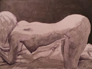 a woman is on all fours as if bracing herself  erotic nude - black ink on pink board