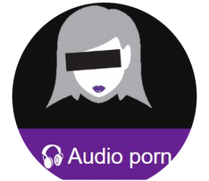 black and purple logo for Girl on the Net Audio Porn with headphones and censored woman