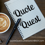 a coffee cup with notebook and Quote Quest written in book