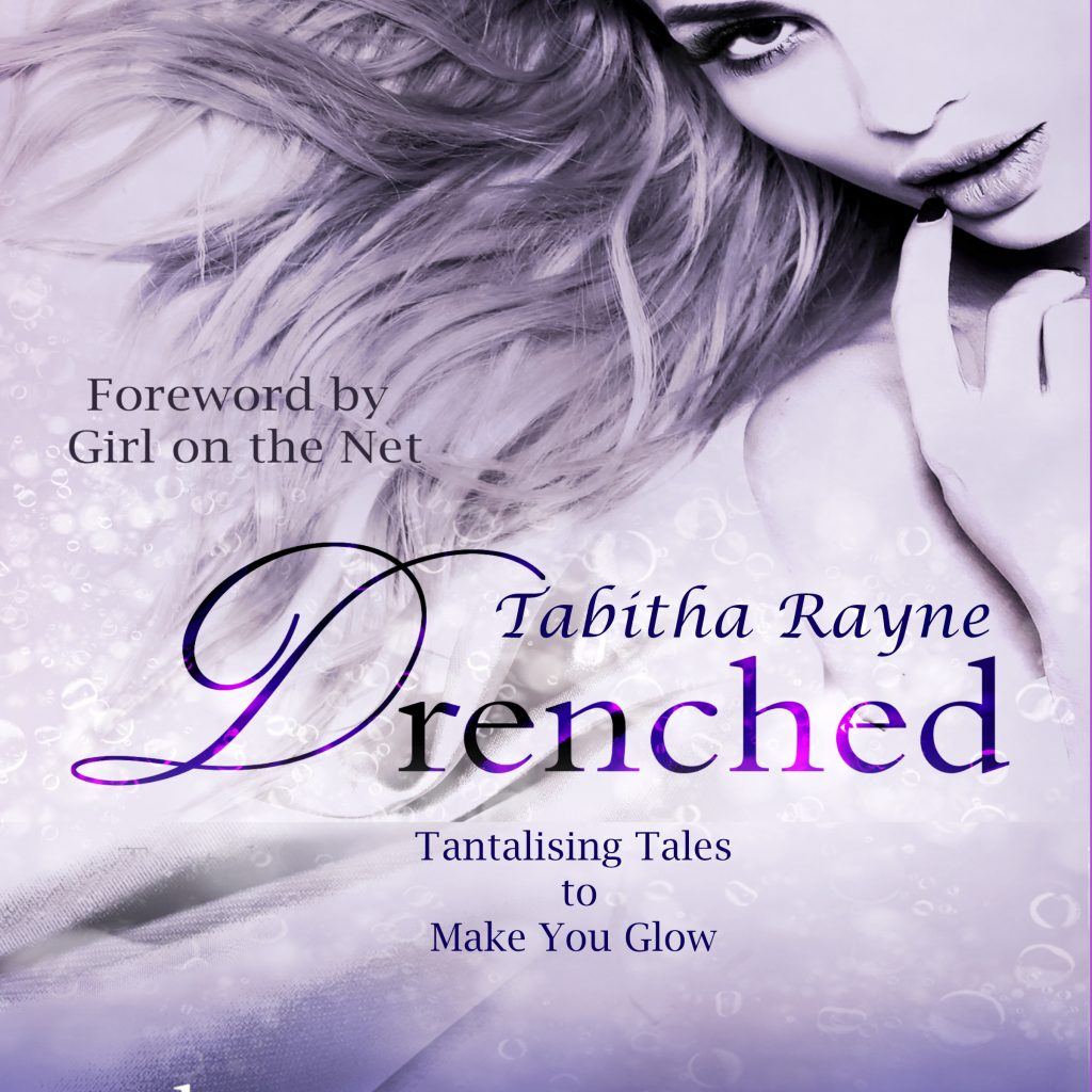drenched erotic audiobook cover - purple background with woman seductively sucking her finger - purple text - Drenched by Tabitha Rayne - tantalising tales to make you glow - for Viking Spankings blog